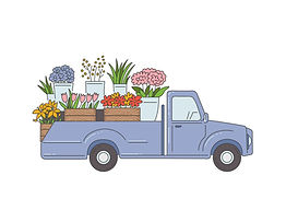 delivery-pickup-truck-with-flowers-sketc