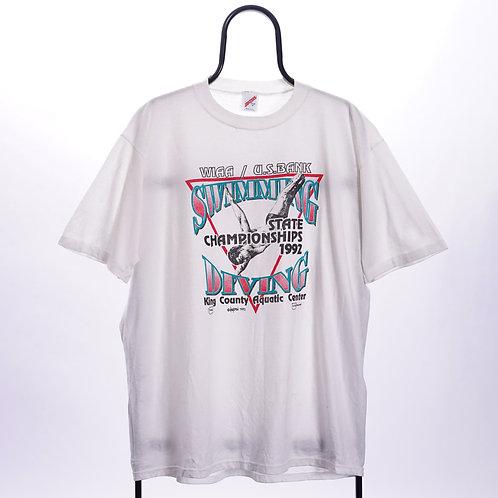 Vintage White 90s Diving Single Stitch TShirt