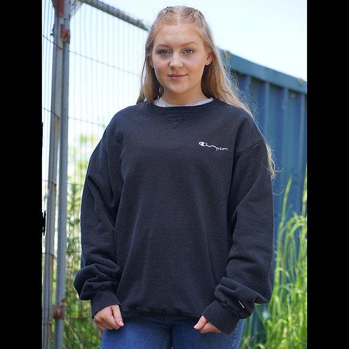 Champion Vintage Black Embroidered Sweatshirt