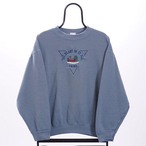 Vintage Blue Ohio Embroidered Souvenir Sweatshirt