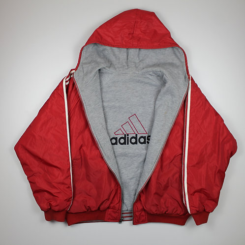 Adidas Red Spellout Reversible Coat
