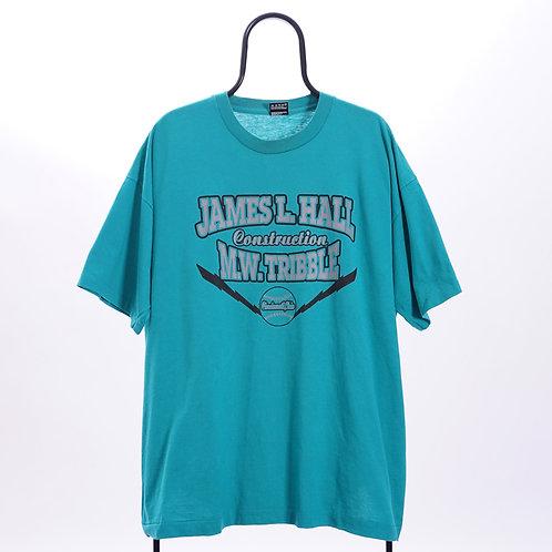 Vintage 90s Single Stitch Green James L Hall TShirt