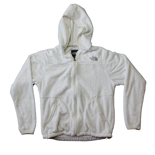 North Face White Hooded Fleece