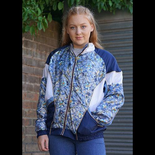 Vintage Blue Flower Windbreaker Jacket