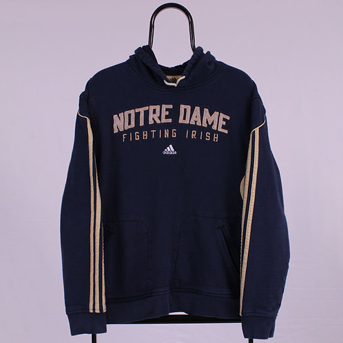 Adidas Vintage Notre Dame Spell Out Navy Hoodie