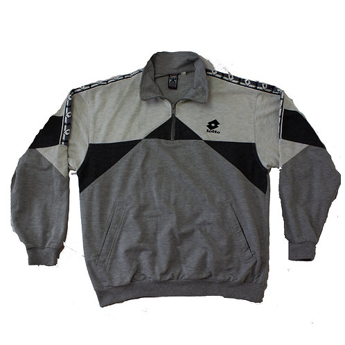 Lotto Grey and White Quarter Zip Sweater