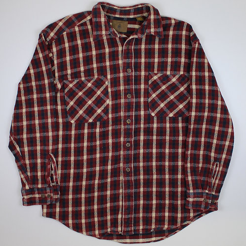 Vintage Maroon & Beige Patterned Flannel Shirt