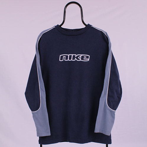 Nike Vintage Navy Spell Out Long Sleeved TShirt