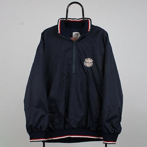 Vintage Navy NYSBUA 1/4 Zip Windbreaker Jacket