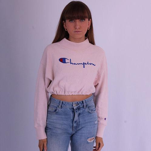Reworked Champion 80s Pink Cropped Sweatshirt