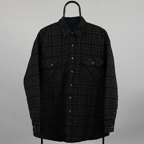 Vintage Navy Checked Shirt Jacket