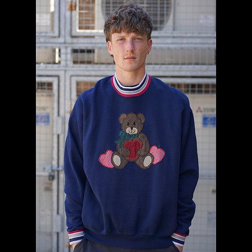 Vintage Navy Embroidered Grandad Sweatshirt