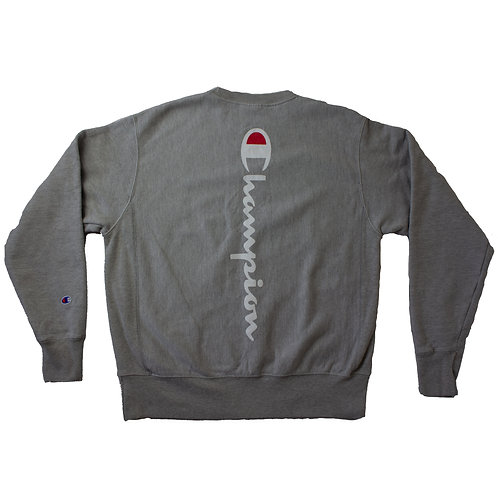 Champion Grey Sweater with Logo on front and back