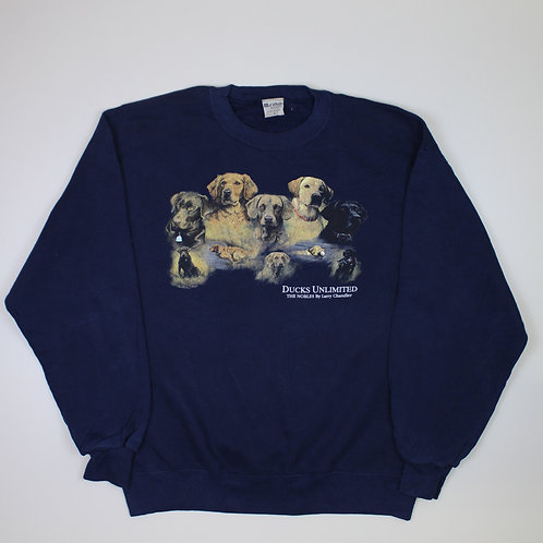 Vintage Dog Printed Navy Sweater