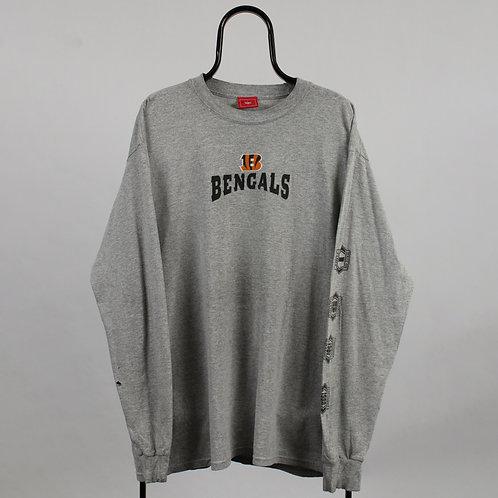 NFL Vintage Grey Bengals Long Sleeved TShirt