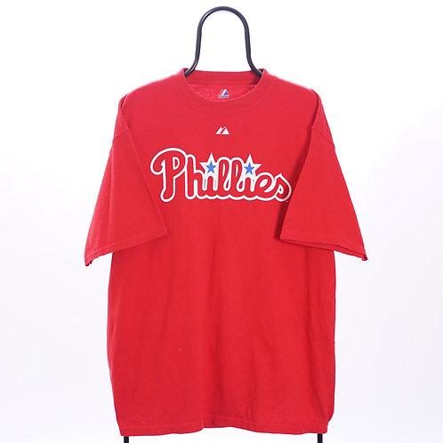 Majestic Vintage Red MLB Philadelphia Phillies TShirt