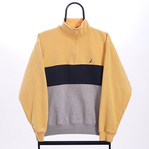 Nautica Vintage Yellow Striped 1/4 Zip Sweatshirt