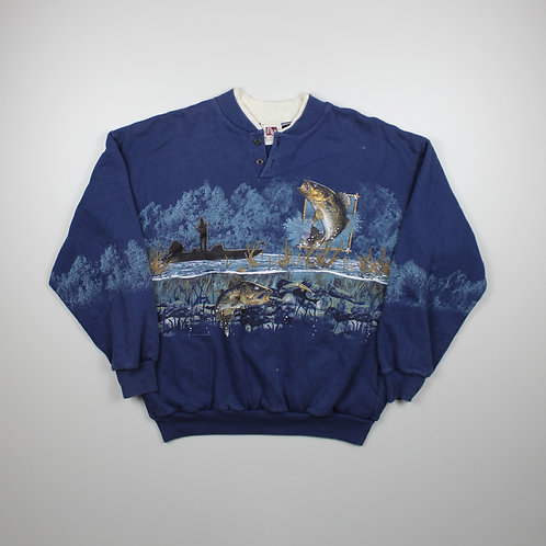 Vintage 'Fishing' Blue Sweater
