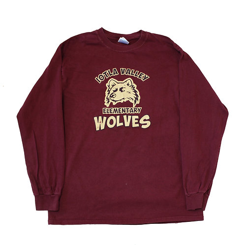 Vintage 'Wolves' Maroon Long Sleeved T-shirt