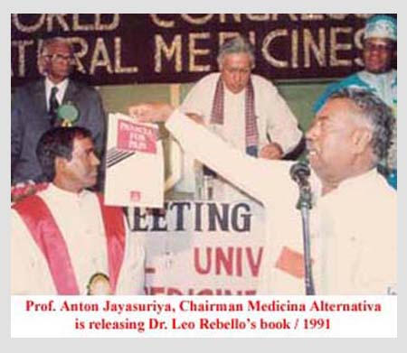 Prof. Anton Jayasuriya, Chairman Medicina Alternativa is releasing Dr. Leo Rebello's book. 1991.