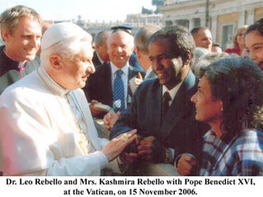 Report of the Meeting with the Pope Benedict XVI with Dr. Leo Rebello & Mrs. Kashmira Rebello