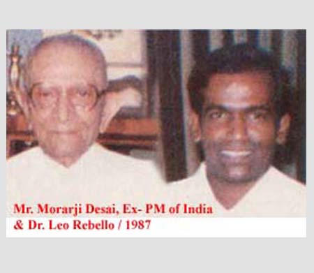 Mr. Morarji Desai, Ex-PM of India and Dr. Leo Rebello, 1987.