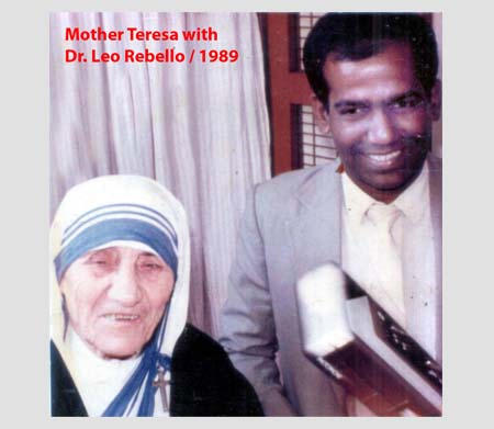 Mother Teresa with Dr. Leo Rebello - 1989.