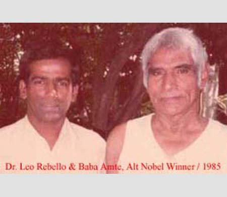 Dr. Leo Rebello and Baba Amte, Alt. Nobel Winner, 1985.