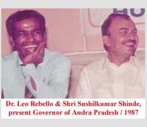 Dr. Leo Rebello and Shri. Sushilkumar Shinde, present Governor of Andra Pradesh, 1987.