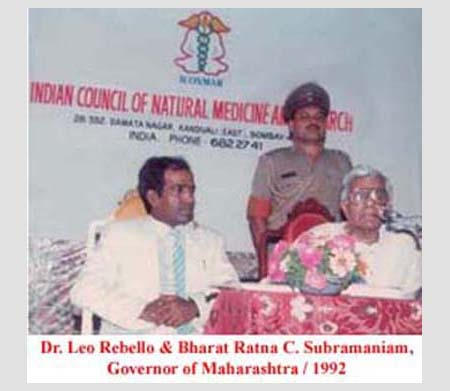 Bharat Ratna C. Subramanium, Governor of Maharasthtra. 1992, at Raj Bhavan at Dr. Leo Rebello ICONMAR Work