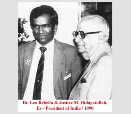 Dr. Leo Rebello and Justice M. Hidayatullah, Ex-President of India, 1990.