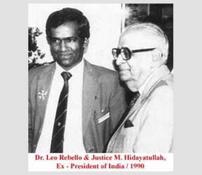 Dr. Leo Rebello and Justice M. Hidayatullah, Ex-President of India, 1990.