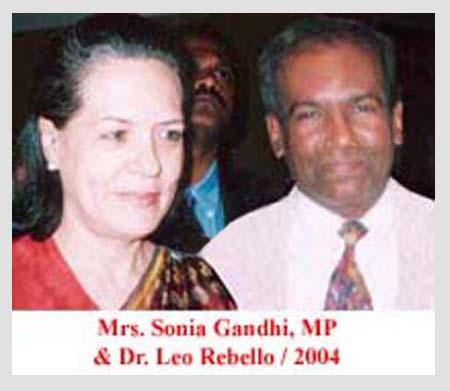 Dr. Leo Rebello With Mrs. Sonia Gandhi in 2004.