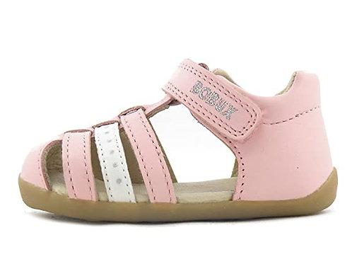 Sandali Bobux gabbietta velcro rosa bianco