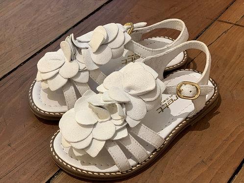 Jarrett sandali bambina camoscio bianco con fiore in tinta Made in Italy
