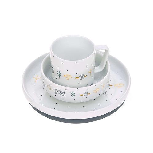 Set pappa Lässig in porcellana, 3 stoviglie con silicone antiscivolo Garden