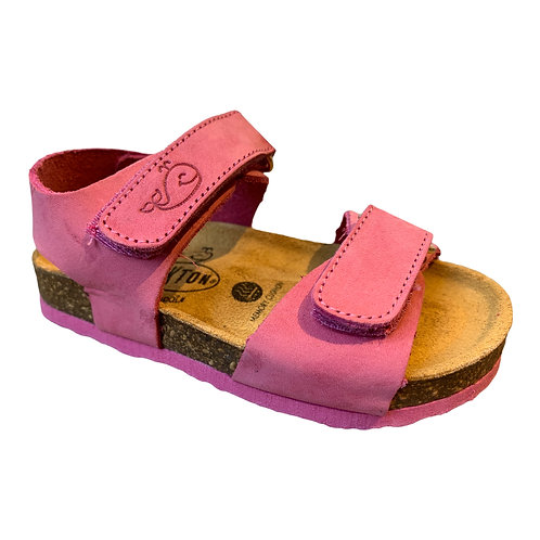 Plakton sandali anatomici in pelle suola flessibile nabuk fuxia Made in Spain