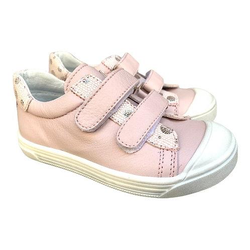Bopy scarpe bambina sportive pelle rosa cipria chiusura 2 strap punta rinforzata