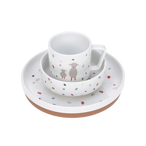 Set pappa Lässig in porcellana, 3 stoviglie con silicone antiscivolo Ga