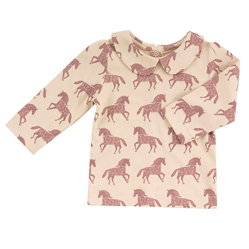 Pigeon T-shirt in cotone organico manica lunga colletto tondo
