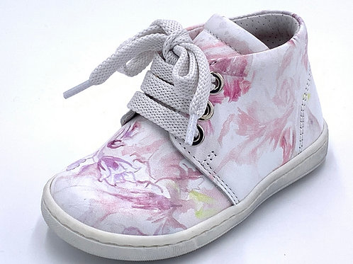 Panda scarpe sneaker in pelle fiori rosa lacci Made in Italy