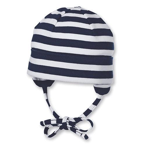 Sterntaler berretto jersey cotone bianco righe blu con laccetti