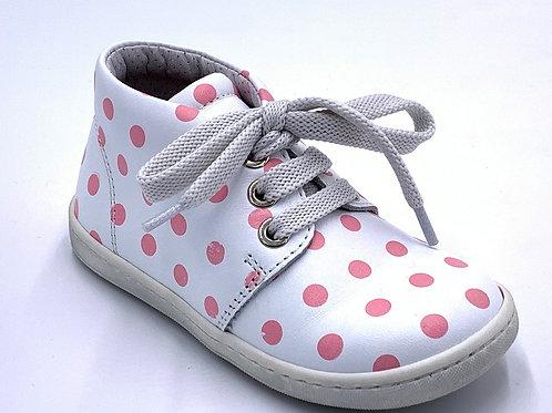 Panda scarpe sneaker in pelle pois rosa lacci Made in Italy