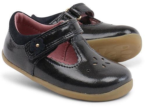 Bobux Regin T-bar scarpe primi passi in pelle verniciata nera