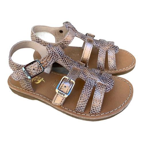 Bopy sandali bambina in pelle con plantare in cuoio chiusura 2 fibbie