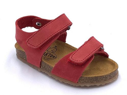 Plakton sandali anatomici suola flessibile nabuk rosso Made in Spain