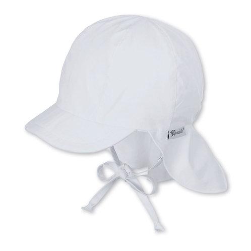 Sterntaler berretto cappello sole in cotone bianco con parasole e laccetti