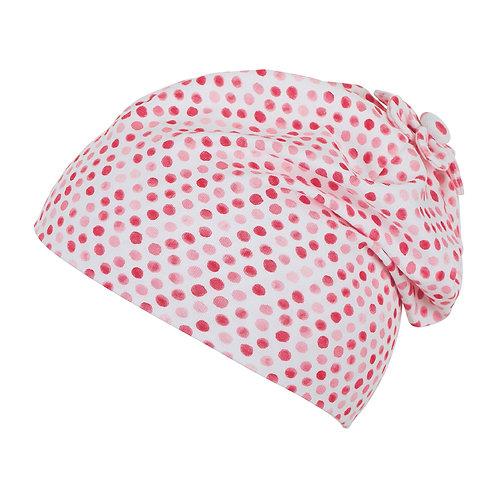Sterntaler berretto jersey cotone bianco pois rosa rossi fuxia