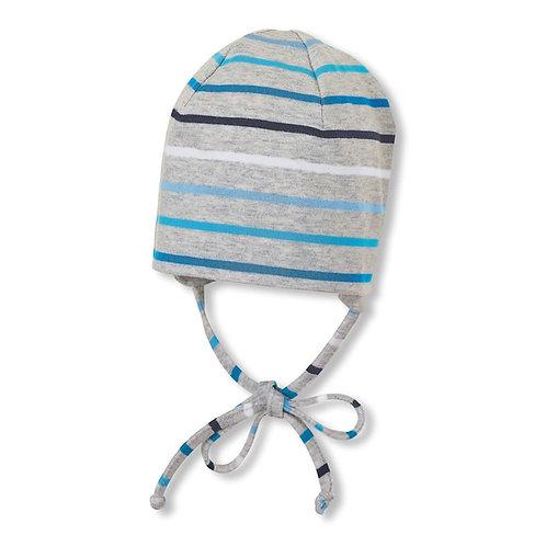 Sterntaler berretto jersey cotone bianco righe azzurre con laccetti