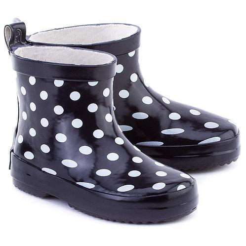 Playshoes stivaletti di gomma bassi pois bianchi